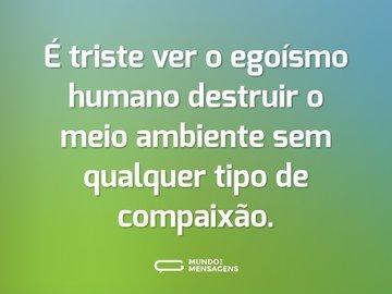 É triste ver o egoísmo humano destruir o meio ambiente sem qualquer tipo de compaixão.