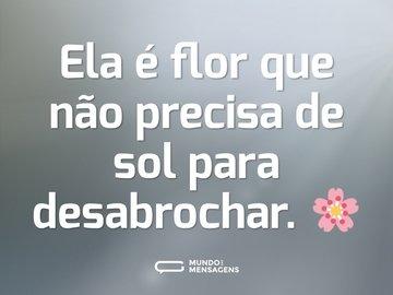 Ela é flor que não precisa de sol para desabrochar. 🌸