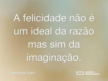 A felicidade não é um ideal da razão mas sim da imaginação.