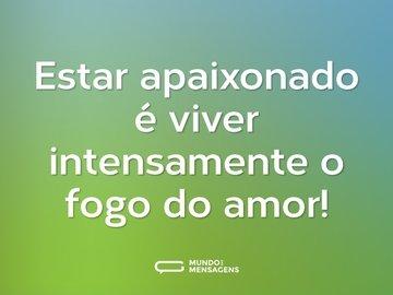 Estar apaixonado é viver intensamente o fogo do amor!