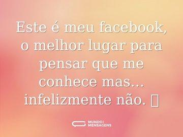 Este é meu facebook, o melhor lugar para pensar que me conhece mas… infelizmente não. 🤪