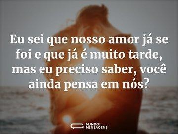 Eu sei que nosso amor já se foi e que já é muito tarde, mas eu preciso saber, você ainda pensa em nós?