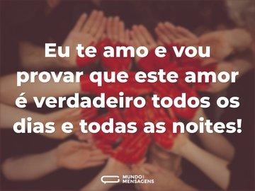 Eu te amo e vou provar que este amor é verdadeiro todos os dias e todas as noites!