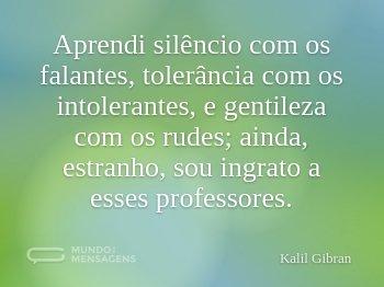 Aprendi silêncio com os falantes, tolerância com os intolerantes, e gentileza com os rudes; ainda, estranho, sou ingrato a esses professores.