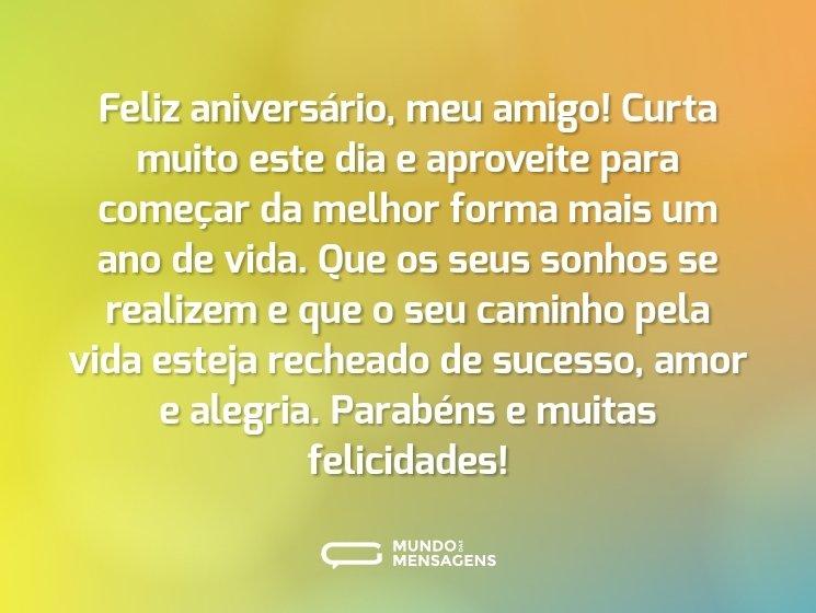 Mensagem de aniversário para amigo parabéns e muitas felicidades