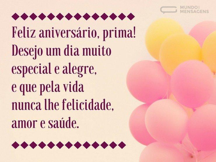Tenha Um Aniversário Feliz Prima: Desejo Um Dia Muito Especial E Alegre, Prima