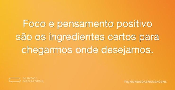 Foco e pensamento positivo são os ingred...