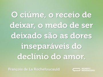 O ciúme, o receio de deixar, o medo de ser deixado são as dores inseparáveis do declínio do amor.