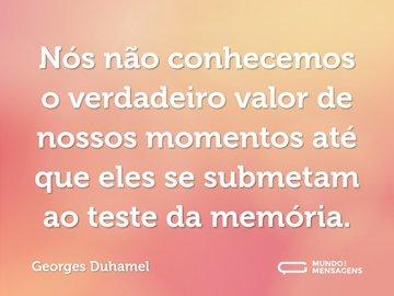 Nós não conhecemos o verdadeiro valor de nossos momentos até que eles se submetam ao teste da memória.