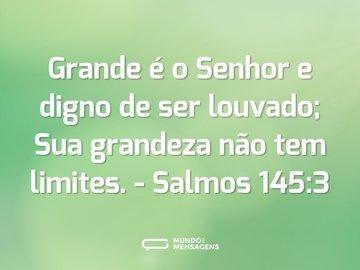 Grande é o Senhor e digno de ser louvado; Sua grandeza não tem limites.  - Salmos 145:3