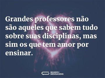 Grandes professores não são aqueles que sabem tudo sobre suas disciplinas, mas sim os que tem amor por ensinar.