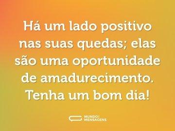 Há um lado positivo nas suas quedas; elas são uma oportunidade de amadurecimento. Tenha um bom dia!