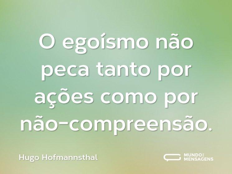 O egoísmo não peca tanto por ações como por não-compreensão.