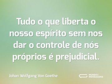 Tudo o que liberta o nosso espírito sem nos dar o controle de nós próprios é prejudicial.