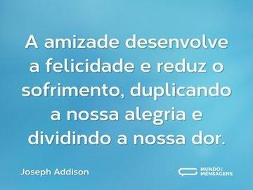 A amizade desenvolve a felicidade e reduz o sofrimento, duplicando a nossa alegria e dividindo a nossa dor.
