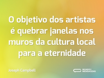 O objetivo dos artistas é quebrar janelas nos muros da cultura local para a eternidade