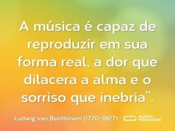 """A música é capaz de reproduzir em sua forma real, a dor que dilacera a alma e o sorriso que inebria""""."""