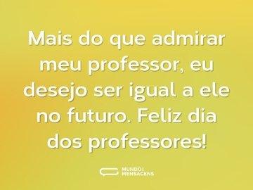 Mais do que admirar meu professor, eu desejo ser igual a ele no futuro. Feliz dia dos professores!