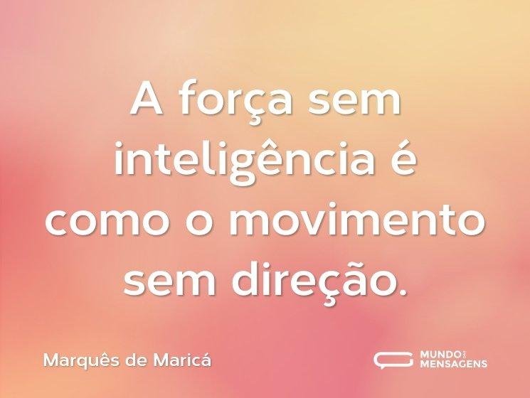 A força sem inteligência é como o movimento sem direção.
