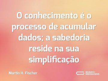 O conhecimento é o processo de acumular dados; a sabedoria reside na sua simplificação