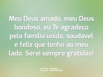 Meu Deus amado, meu Deus bondoso, eu Te agradeço pela família unida, saudável e feliz que tenho ao meu lado. Serei sempre gratidão!