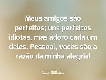 Meus amigos são perfeitos; uns perfeitos idiotas, mas adoro cada um deles. Pessoal, vocês são a razão da minha alegria!