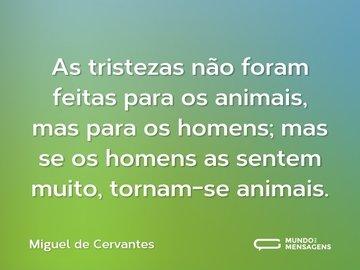 As tristezas não foram feitas para os animais, mas para os homens; mas se os homens as sentem muito, tornam-se animais.