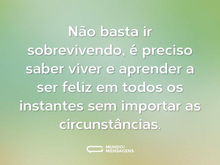 Não basta ir sobrevivendo, é preciso saber viver e aprender a ser feliz em todos os instantes sem importar as circunstâncias.