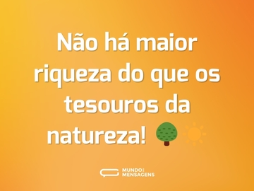 Não há maior riqueza do que os tesouros da natureza! 🌳☀