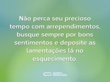 Não perca seu precioso tempo com arrependimentos, busque sempre por bons sentimentos e deposite as lamentações lá no esquecimento.