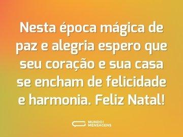 Nesta época mágica de paz e alegria espero que seu coração e sua casa se encham de felicidade e harmonia. Feliz Natal!