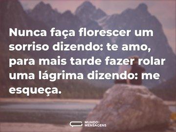 Nunca faça florescer um sorriso dizendo: te amo, para mais tarde fazer rolar uma lágrima dizendo: me esqueça.