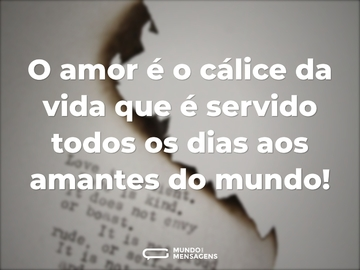 O amor é o cálice da vida que é servido todos os dias aos amantes do mundo!