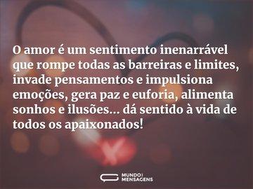 O amor é um sentimento inenarrável que rompe todas as barreiras e limites, invade pensamentos e impulsiona emoções, gera paz e euforia, alimenta sonhos e ilusões... dá sentido à vida de todos os apaixonados!