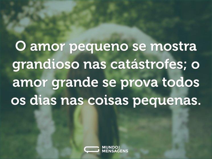 O amor pequeno se mostra grandioso nas catástrofes; o amor grande se prova todos os dias nas coisas pequenas.