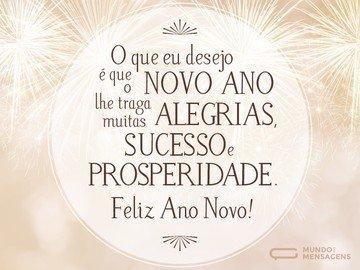 Alegria, sucesso e prosperidade para o Ano Novo