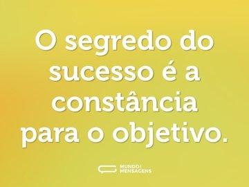 O segredo do sucesso é a constância para o objetivo.