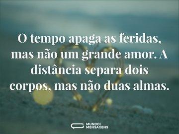 O tempo apaga as feridas, mas não um grande amor. A distância separa dois corpos, mas não duas almas.