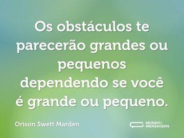 Os obstáculos te parecerão grandes ou pequenos dependendo se você é grande ou pequeno.