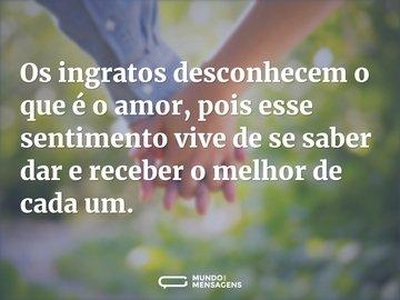Os ingratos desconhecem o que é o amor, pois esse sentimento vive de se saber dar e receber o melhor de cada um.