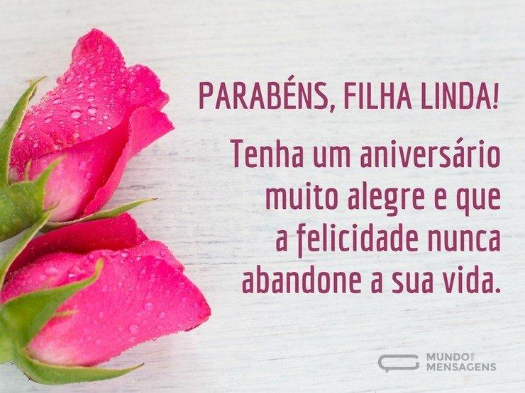 mensagem de aniversario para filha com rosas