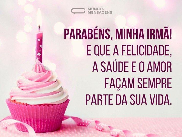 mensagem de aniversario para irma com com bolo