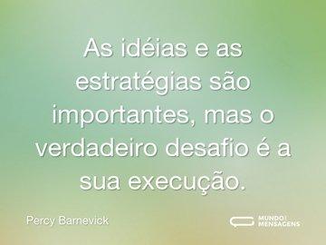 As idéias e as estratégias são importantes, mas o verdadeiro desafio é a sua execução.