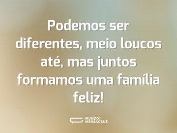 Podemos ser diferentes, meio loucos até, mas juntos formamos uma família feliz!