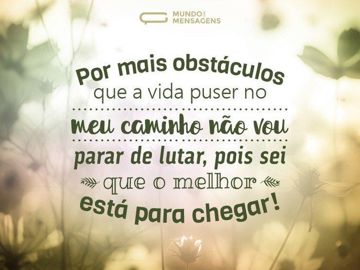 Mensagem de otimismo superando obstáculos