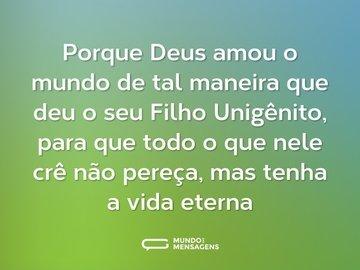 Porque Deus amou o mundo de tal maneira que deu o seu Filho Unigênito, para que todo o que nele crê não pereça, mas tenha a vida eterna