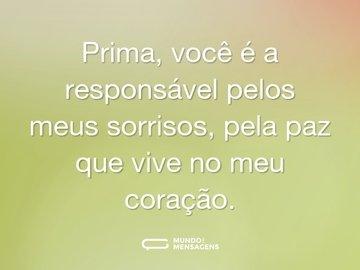 Prima, você é a responsável pelos meus sorrisos, pela paz que vive no meu coração.