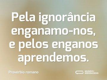 Pela ignorância enganamo-nos, e pelos enganos aprendemos.