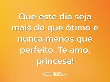 Que este dia seja mais do que ótimo e nunca menos que perfeito. Te amo, princesa!
