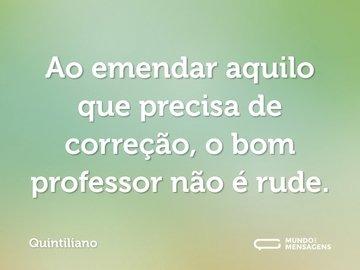 Ao emendar aquilo que precisa de correção, o bom professor não é rude.